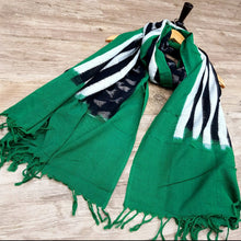 Load image into Gallery viewer, Ikat Dupatta - Green, Black & White Dupatta (2.5 Metre)