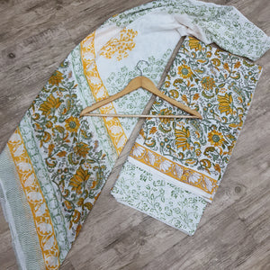 Yellow & White Cotton Suit with Cotton Dupatta Suit Set