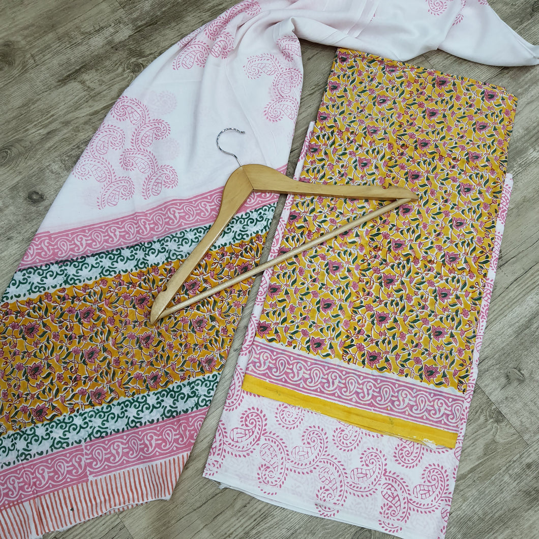 COTTON UNSICHED WITH DUPATTA SUIT SET -MUSTURD YELLOW