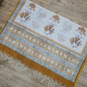 Hand Block Cotton Kota Dupatta - Brown, White & Grey Dupatta (2.5 Metre)