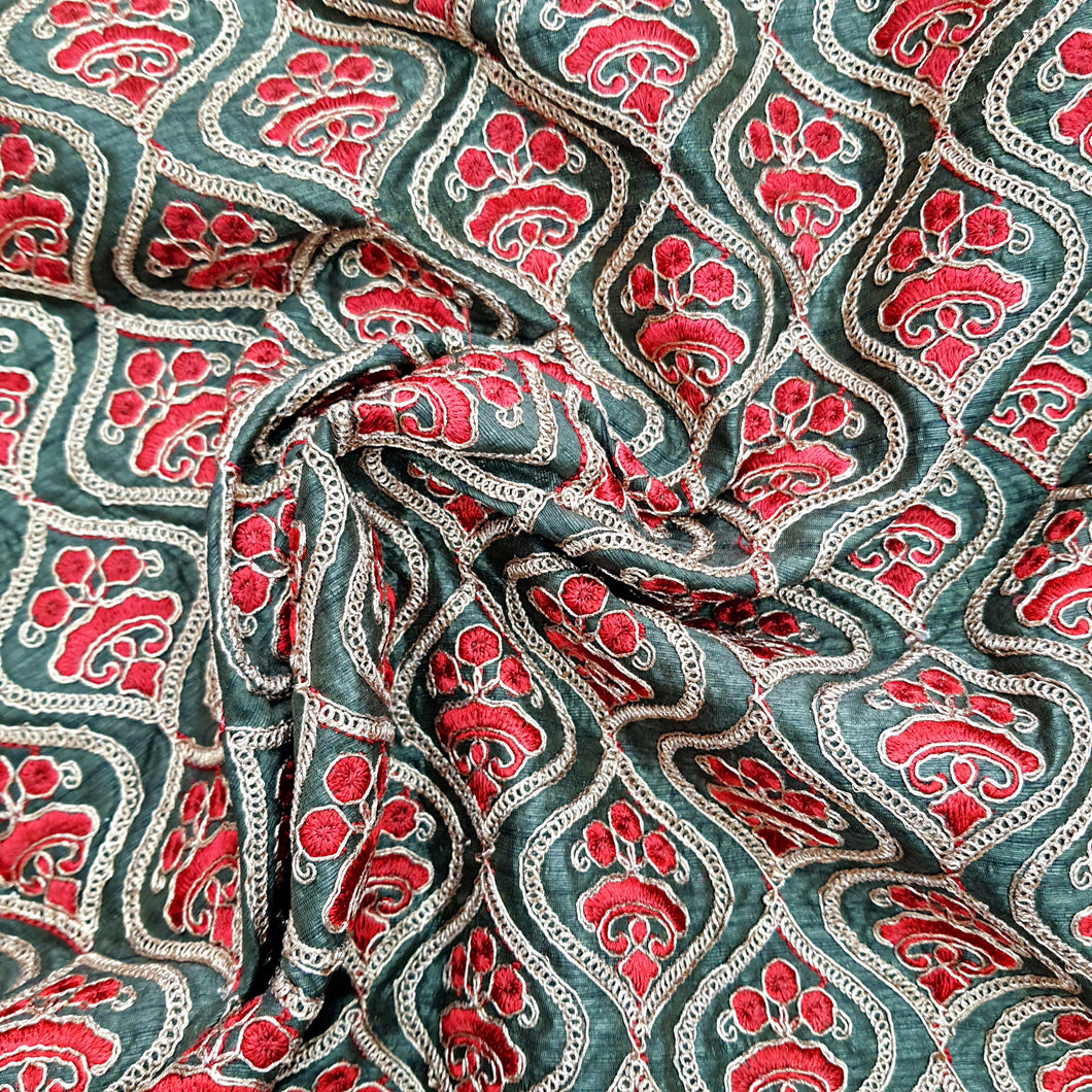 Green Base Dupion Silk Embroidered Fabric