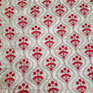 Beige Base Dupion Silk Embroidered Fabric