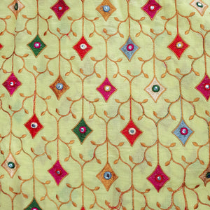 Cotton Embroidered with Faux Mirror work Fabric