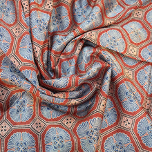 Load image into Gallery viewer, Indigo Blue & Red Ajrakh on Mashroo Silk Fabric
