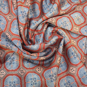 Indigo Blue & Red Ajrakh on Mashroo Silk Fabric