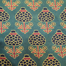 Load image into Gallery viewer, Black Green Ajrakh on Mashroo Silk Fabric