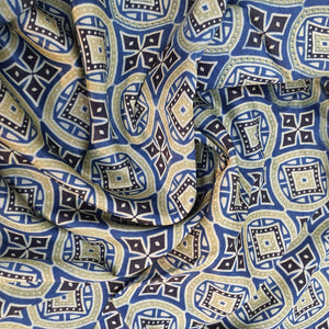 Indigo Blue & Black Ajrakh on Mashroo Silk Fabric
