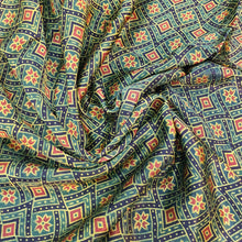 Load image into Gallery viewer, Green & Rust Ajrakh Print on Mashroo Fabric