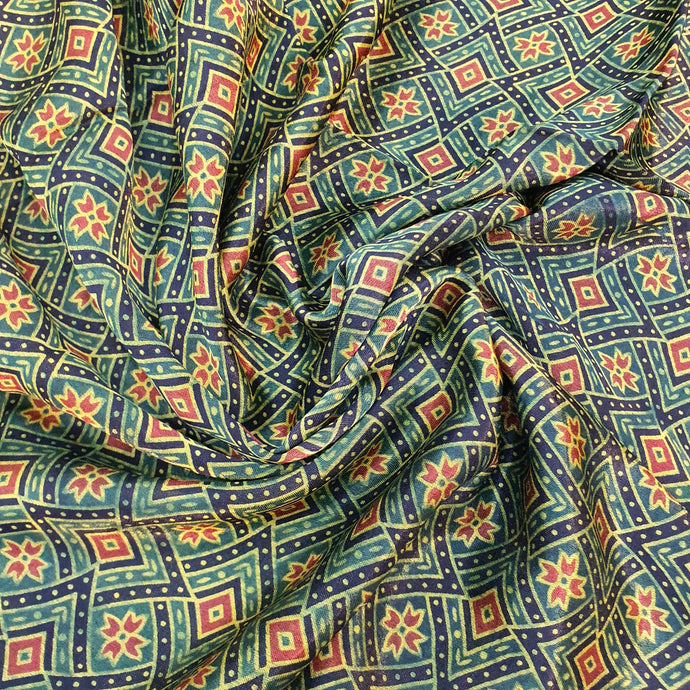 Green & Rust Ajrakh Print on Mashroo Fabric