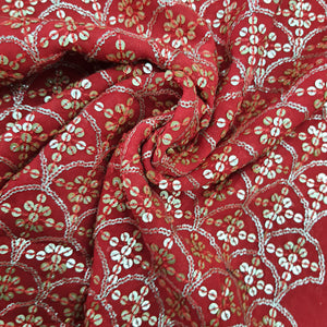 Red Georgette  Embroidered Fabric
