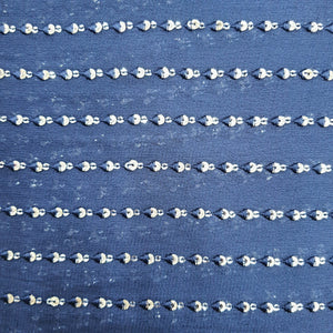 Navy Blue Georgette Embroidered Fabric