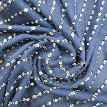Load image into Gallery viewer, Navy Blue Georgette Embroidered Fabric