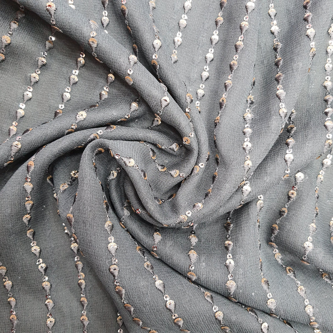 Steel Grey Georgette  Embroidered Fabric