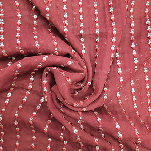 Maroon Georgette  Embroidered Fabric