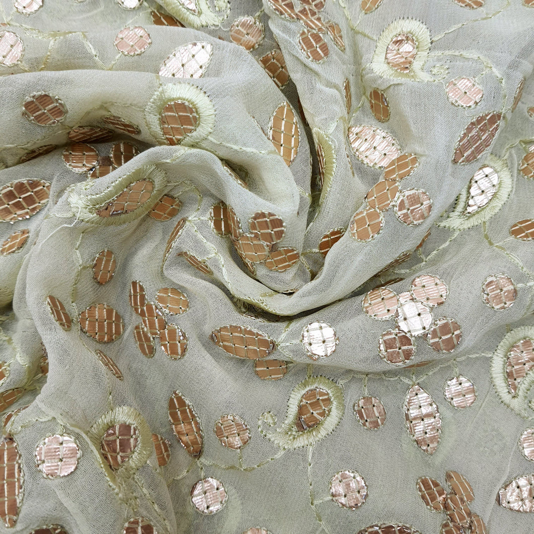 Lemon Georgette  Embroidered Fabric