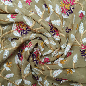 Golden Beige Georgette  Embroidered Fabric