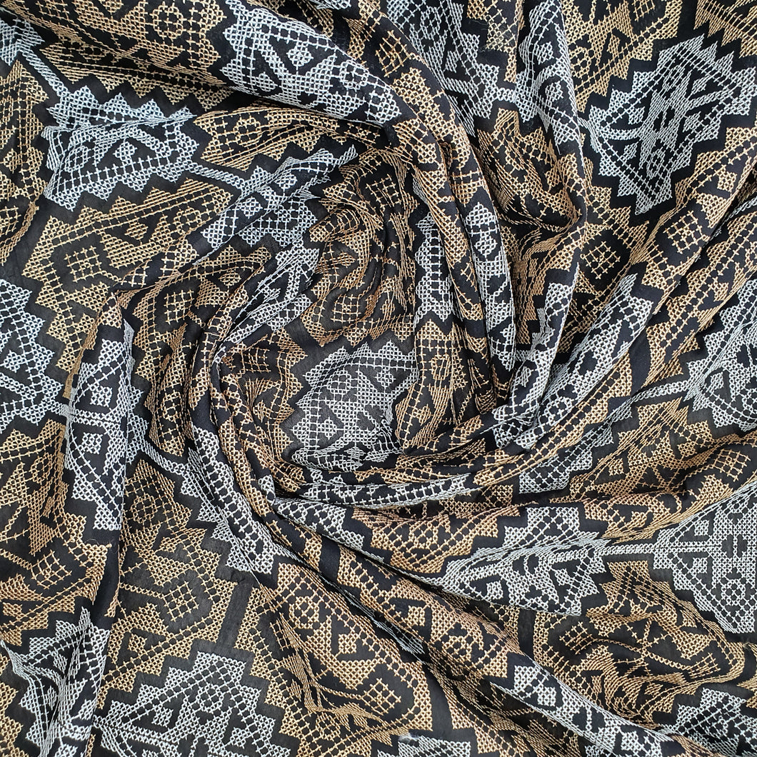 Black Base Embroidery on Cotton 2x2 Rubia Fabric