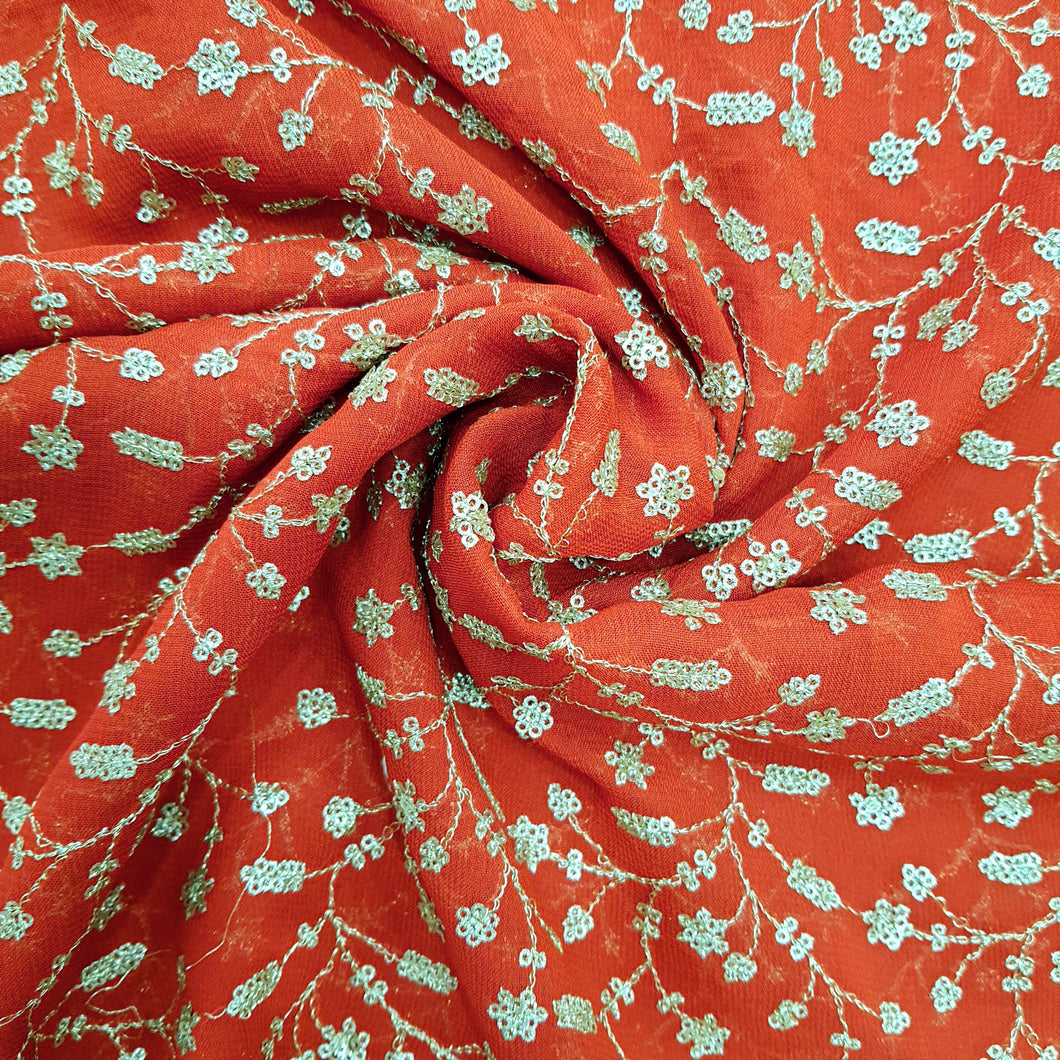 Red Sequence Jaal All Over Viscos Georgette  Embroidered Fabric