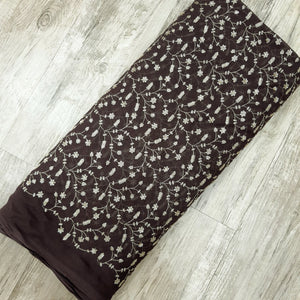 Dark Brown Viscos Georgette  Embroidered Fabric