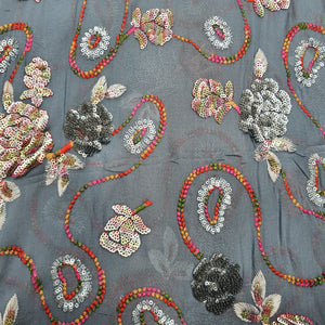 Grey Base Rainbow Sequence Multi colour Thread work Viscos Georgette  Embroidered Fabric