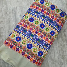 Load image into Gallery viewer, Golden Base Rajasthani Style Thread Work Viscos Georgette  Embroidered Fabric