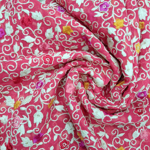Fuchia Pink Thread Work Viscos Georgette  Embroidered Fabric