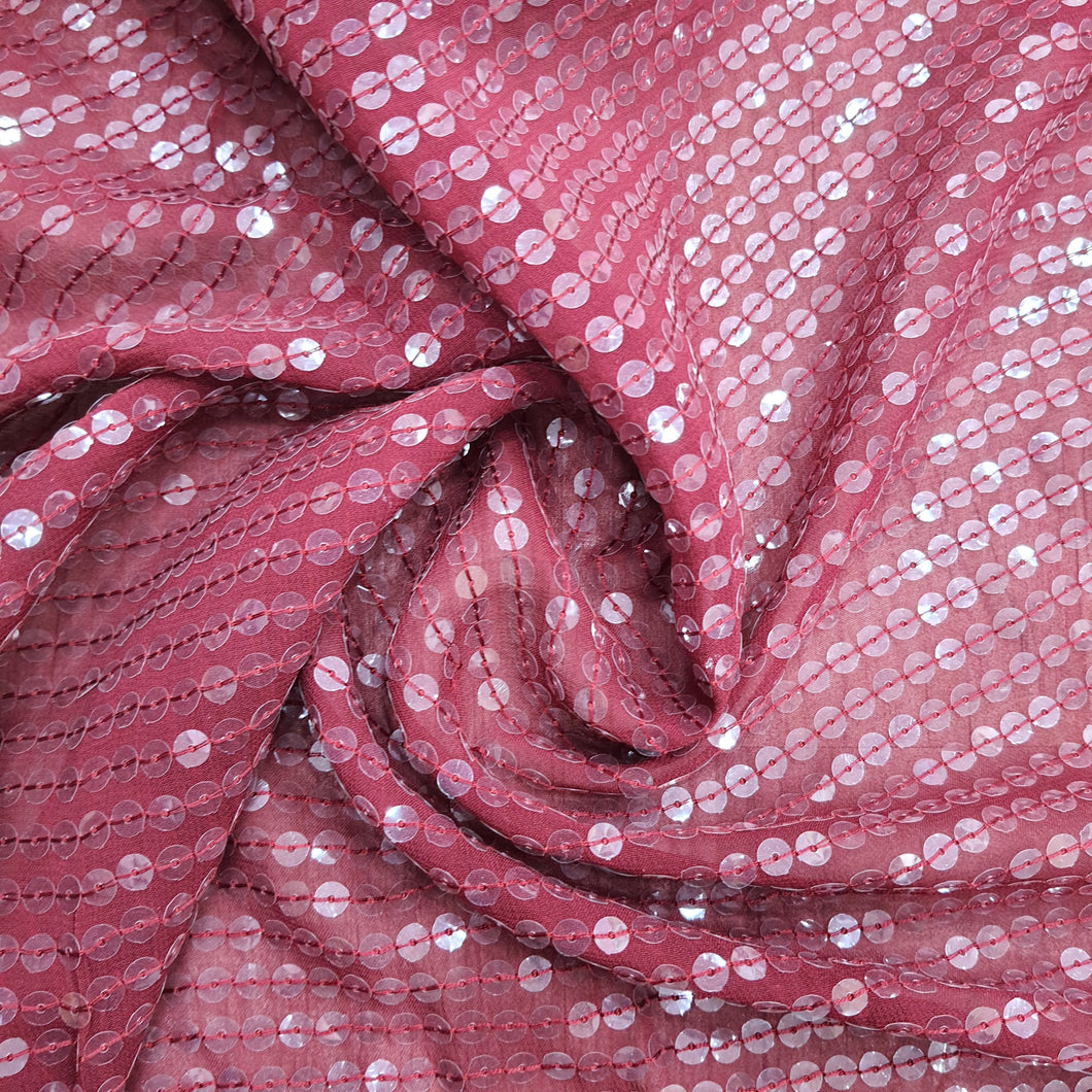 Maroon Sequence Viscose Georgette  Embroidered Fabric