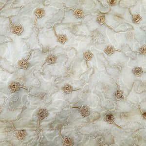 Lemon Organza fabric embroidered