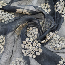 Load image into Gallery viewer, Black Organza Embroidered Fabric