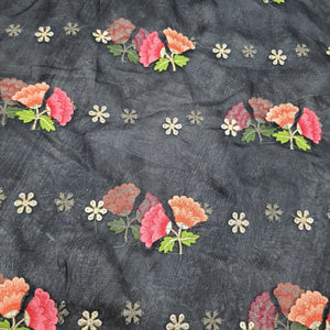 Black Organza Embroidered Fabric