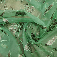 Load image into Gallery viewer, Lime Green Organza Embroidered Fabric