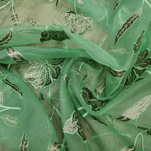 Lime Green Organza Embroidered Fabric