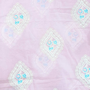 Powder Pink Base Floral Embroidery on Cotton 2x2 Rubia Fabric