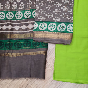 CHANDERI UNSTICHED BLOCK PRINT SUIT SET-GREY & GREEN