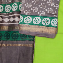 Load image into Gallery viewer, CHANDERI UNSTICHED BLOCK PRINT SUIT SET-GREY & GREEN