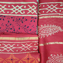 Load image into Gallery viewer, CHANDERI UNSTICHED BLOCK PRINT SUITSET-RED