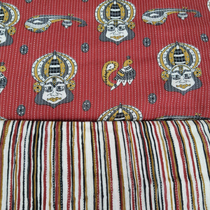 Red Cotton Kantha Screen Print Top & Bottom-2.5 mtr each