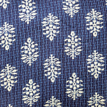 Load image into Gallery viewer, Indigo Blue Cotton Katha Work Block Print Fabric