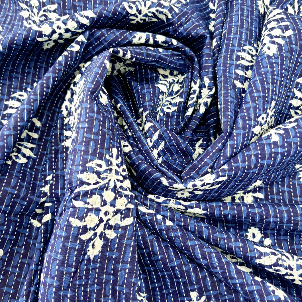 Indigo Blue Cotton Katha Work Block Print Fabric