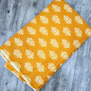 Sunflower Yellow Cotton Katha Work Block Print Fabric