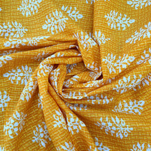 Load image into Gallery viewer, Sunflower Yellow Cotton Katha Work Block Print Fabric