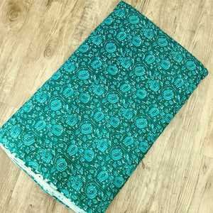 Sea Green Cotton Katha Work Block Print Fabric