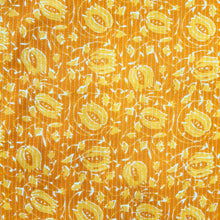 Load image into Gallery viewer, Yellow Cotton Katha Work Block Print Fabric