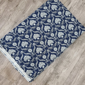 Navy Blue Cotton Katha Work Block Print Fabric