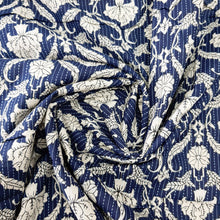 Load image into Gallery viewer, Navy Blue Cotton Katha Work Block Print Fabric
