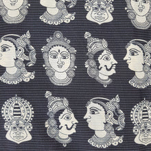 Load image into Gallery viewer, Black  Cotton Kantha Screen Print.
