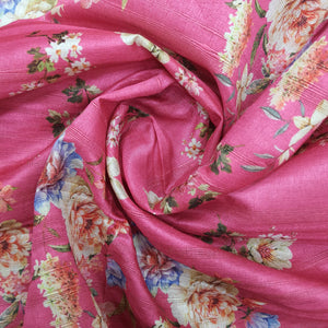 Hot Pink Viscose Tussar Digital Print