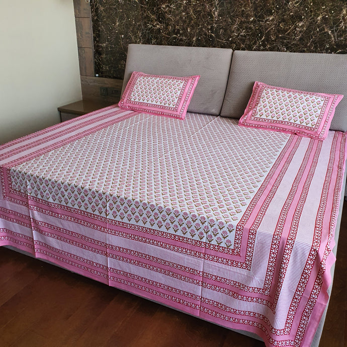 Pink & White Floral Pure Cotton Handloom Block Printed Bedsheet with 2 Pillow Covers
