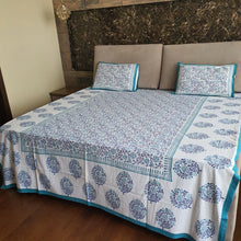 Load image into Gallery viewer, Blue and Turquoise on White base Print Floral Design Pure Cotton Handloom Block Printed Bedsheet with 2 Pillow Covers(Super KING SIZE XXL-120*120)