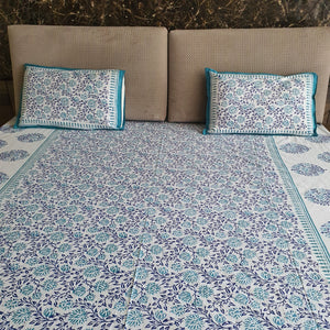 Blue and Turquoise on White base Print Floral Design Pure Cotton Handloom Block Printed Bedsheet with 2 Pillow Covers(Super KING SIZE XXL-120*120)
